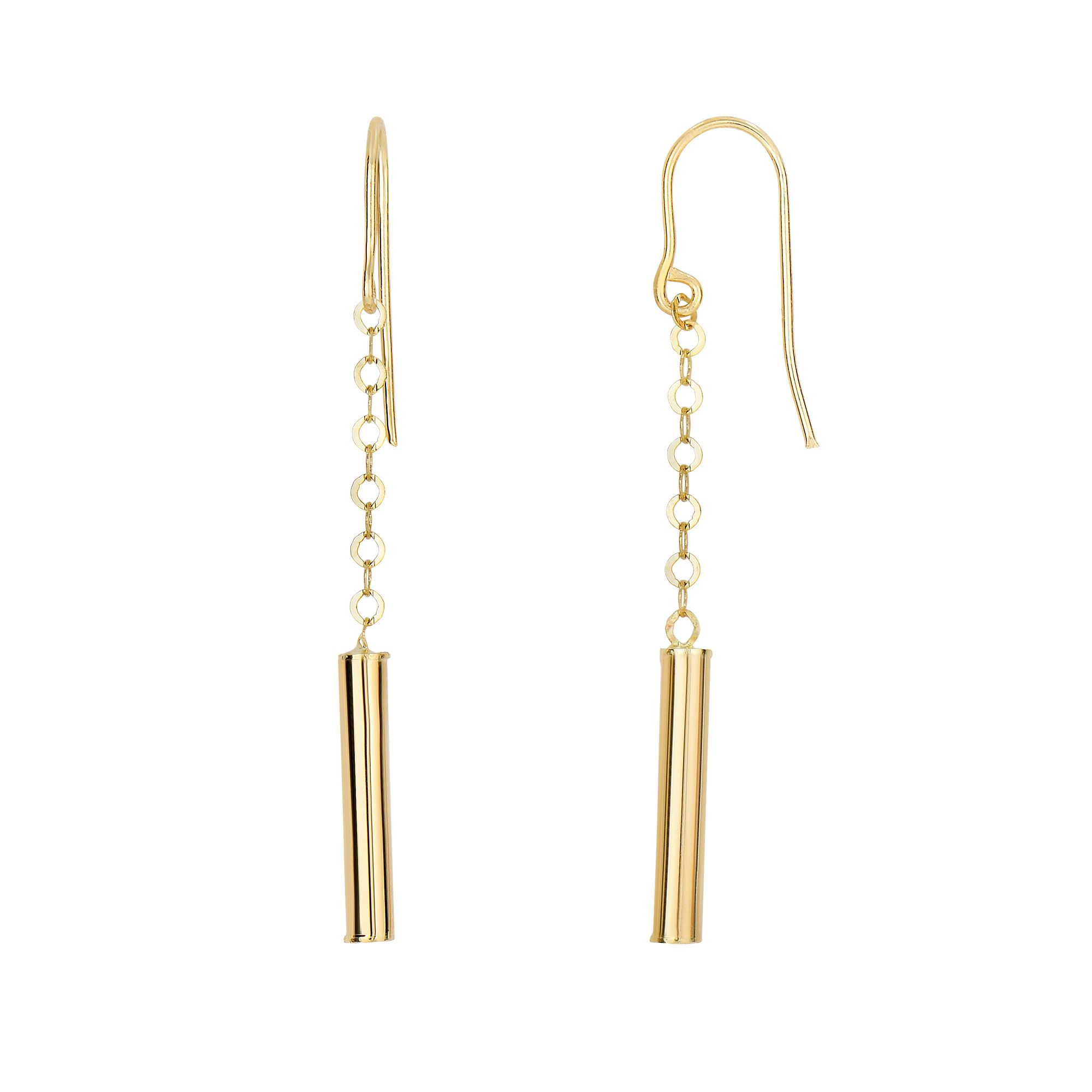 14 Karat Yellow Gold Shiny Cylinder Dangling Earrings
