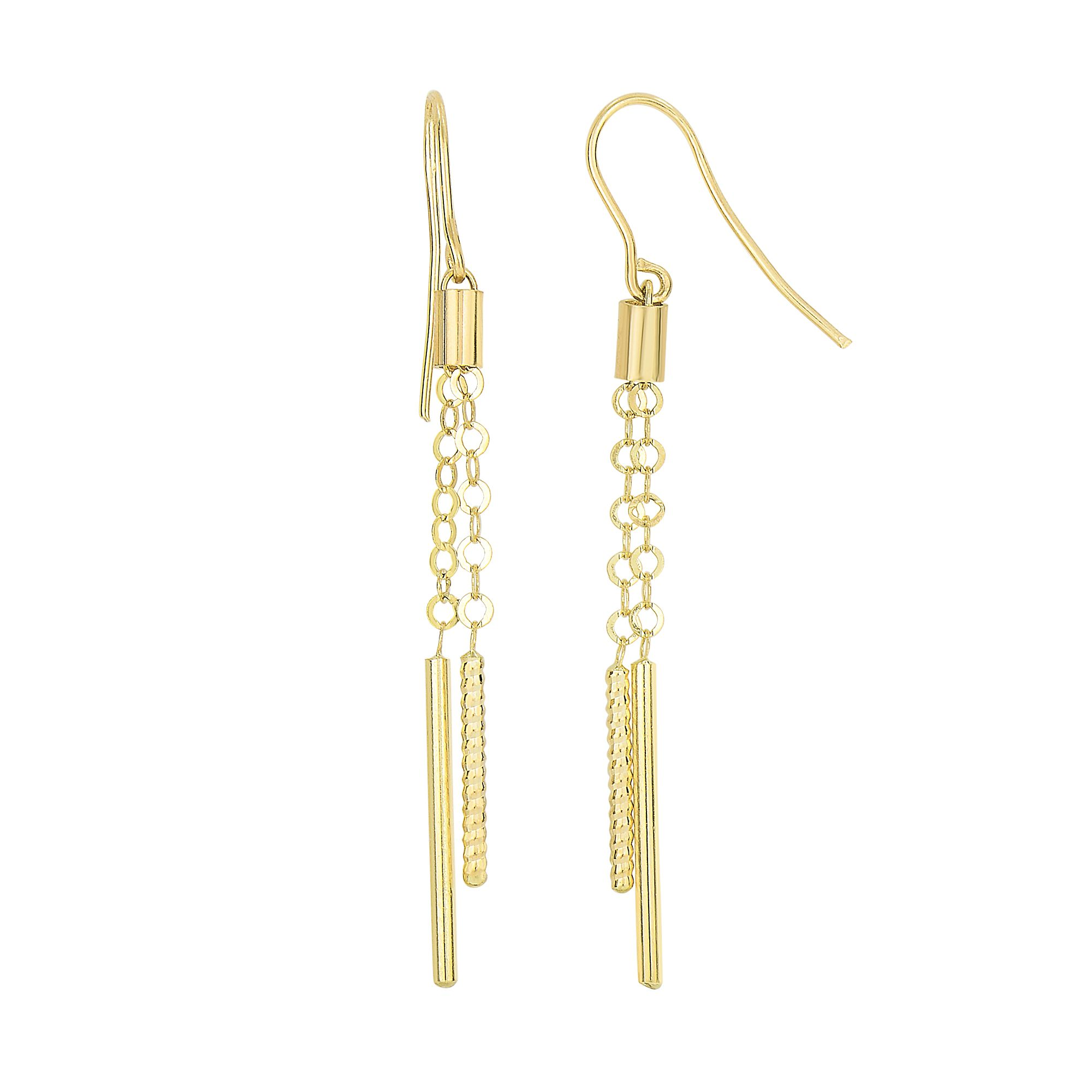 14 Karat Yellow Gold Shiny Double Cylinder Dangling Earrings