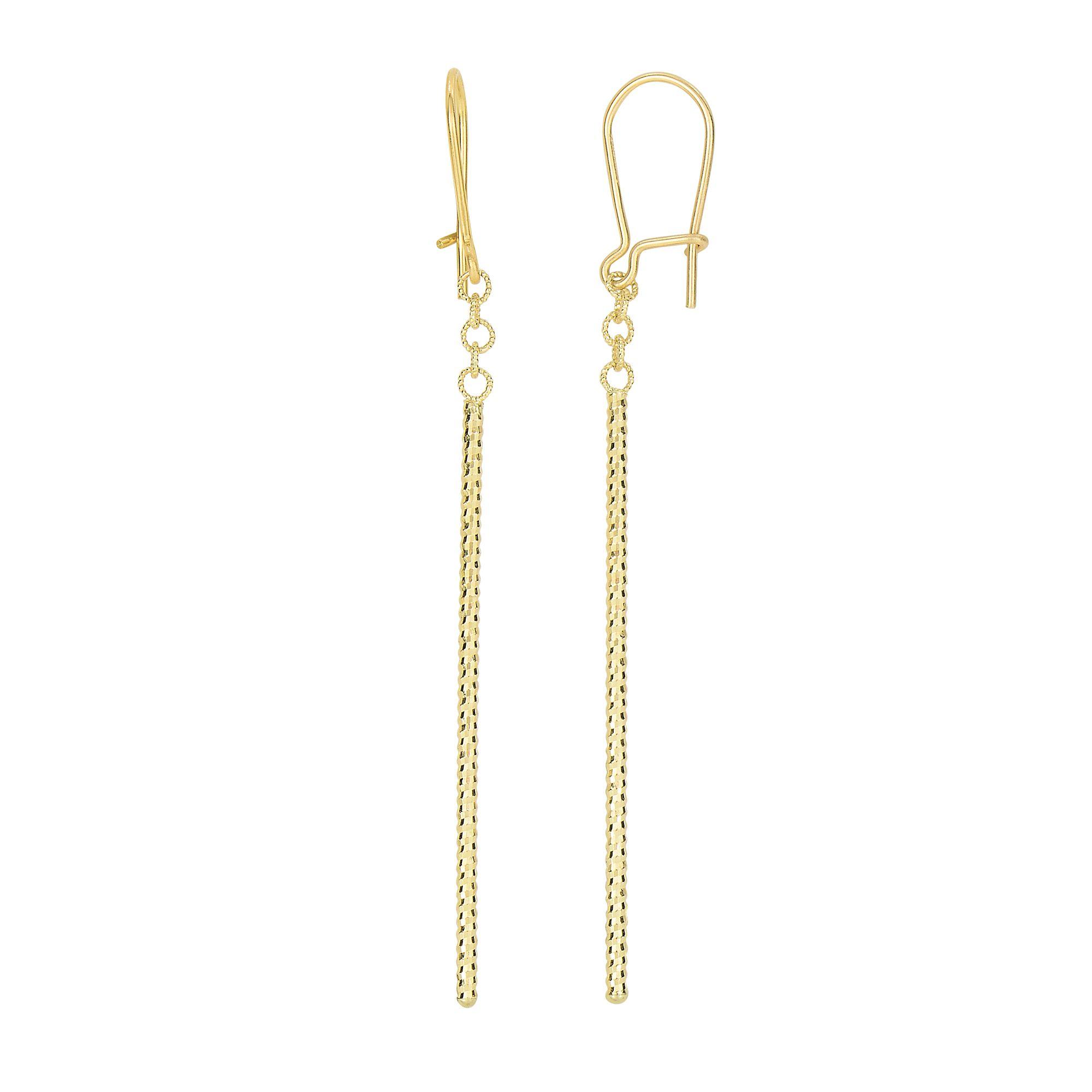 14 Karat Yellow Gold Diamond Cut Vertical Bar Dangling Earrings