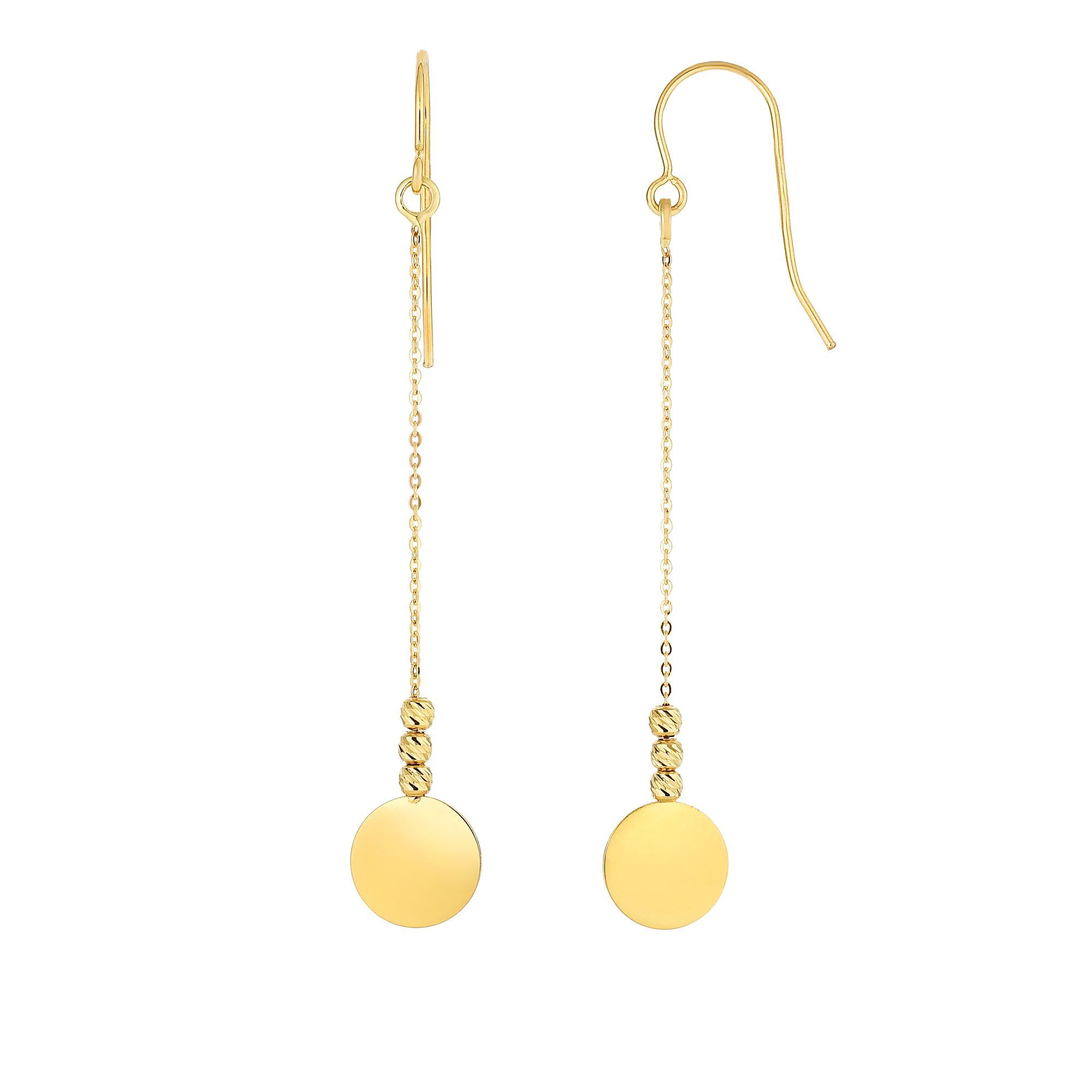 14 Karat Yellow Gold Dangling Disc Earrings
