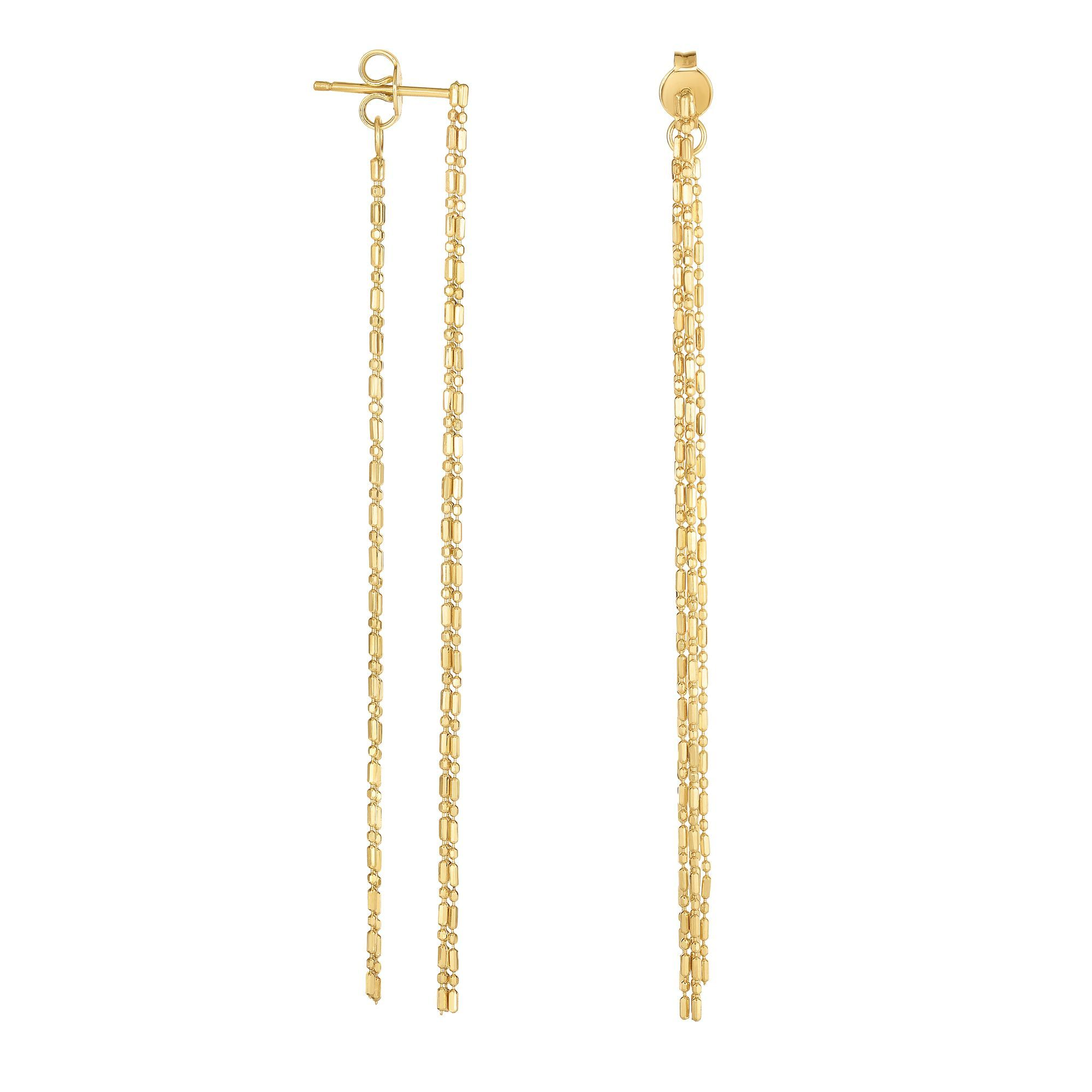 14 Karat Yellow Gold Dangling Dot Dash Chain Earrings