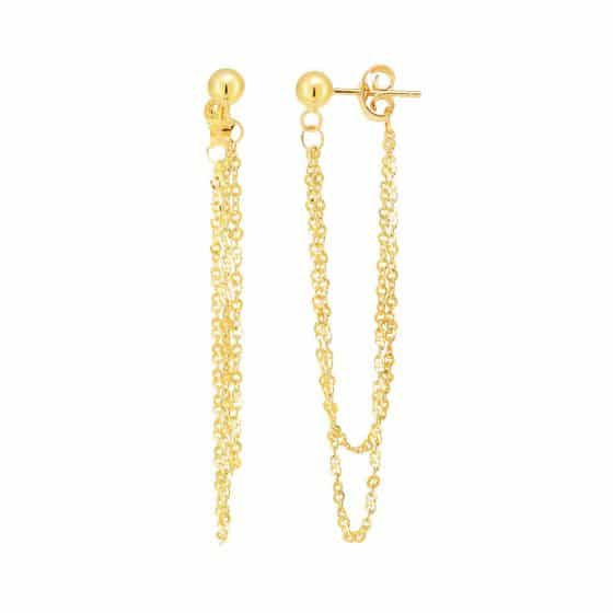 14 Karat Yellow Gold Dangling Cable Link Chain Earrings