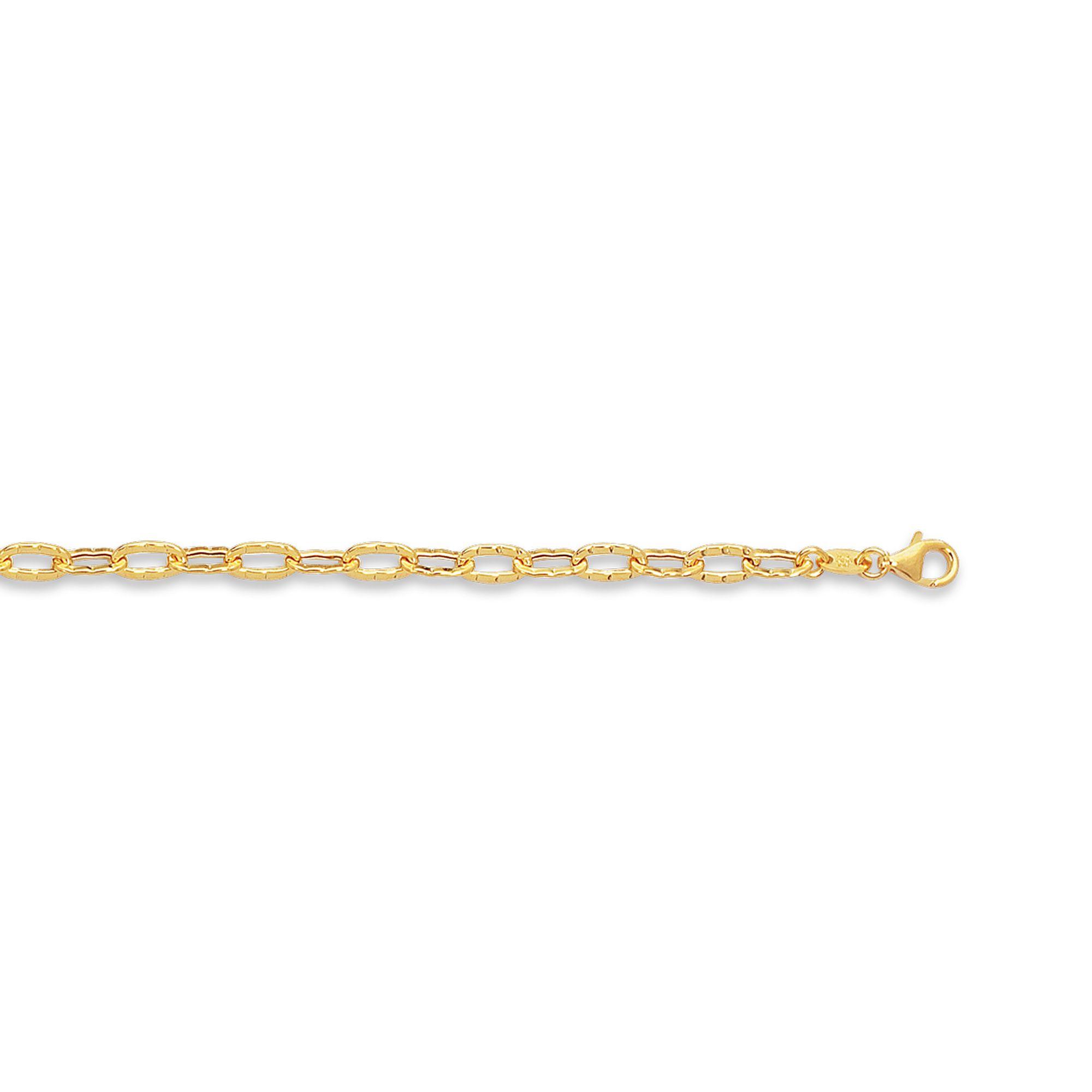 14 Karat Gold Hammered Oval Link Chain Ankle Bracelet