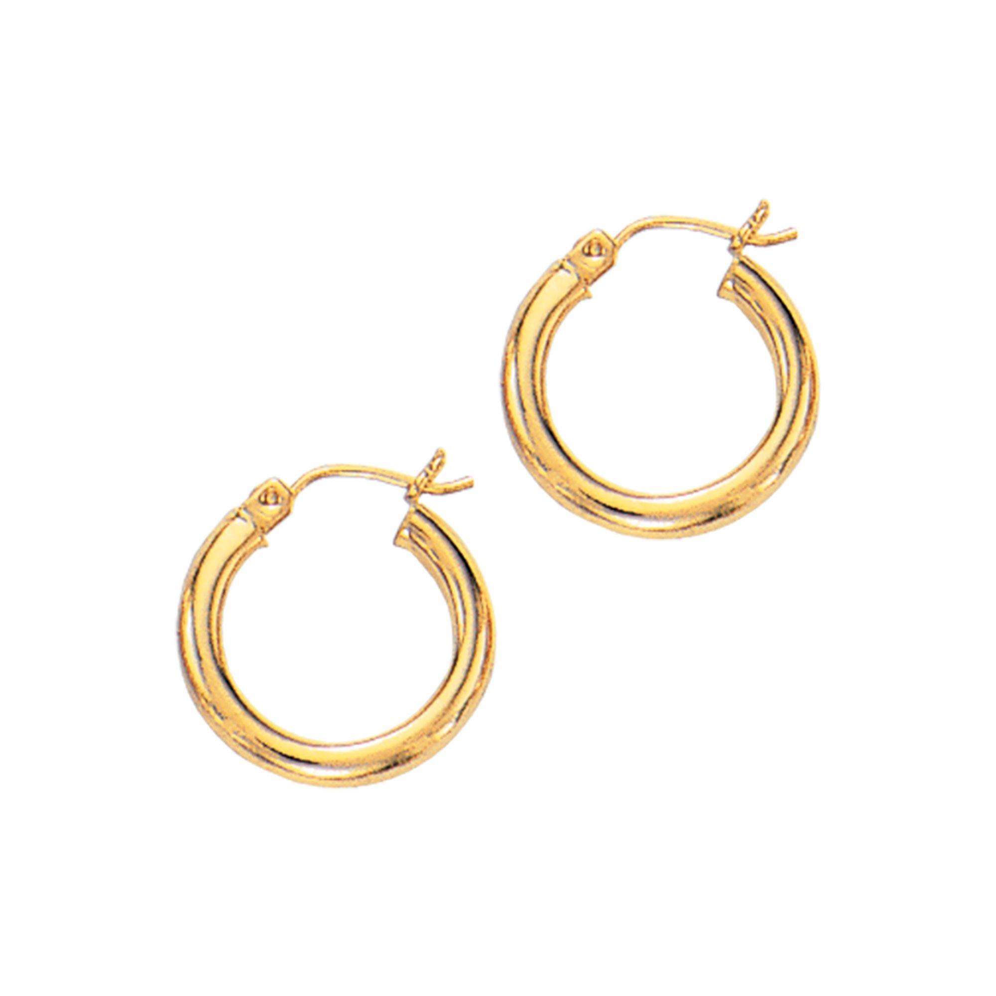 14 Karat Gold 3 mm Polished Hoop Earrings