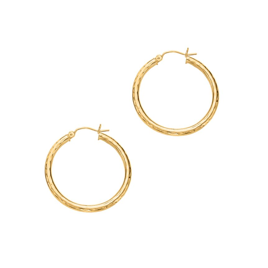 14 Karat Yellow Gold 3 mm Diamond Cut Hoop Earrings