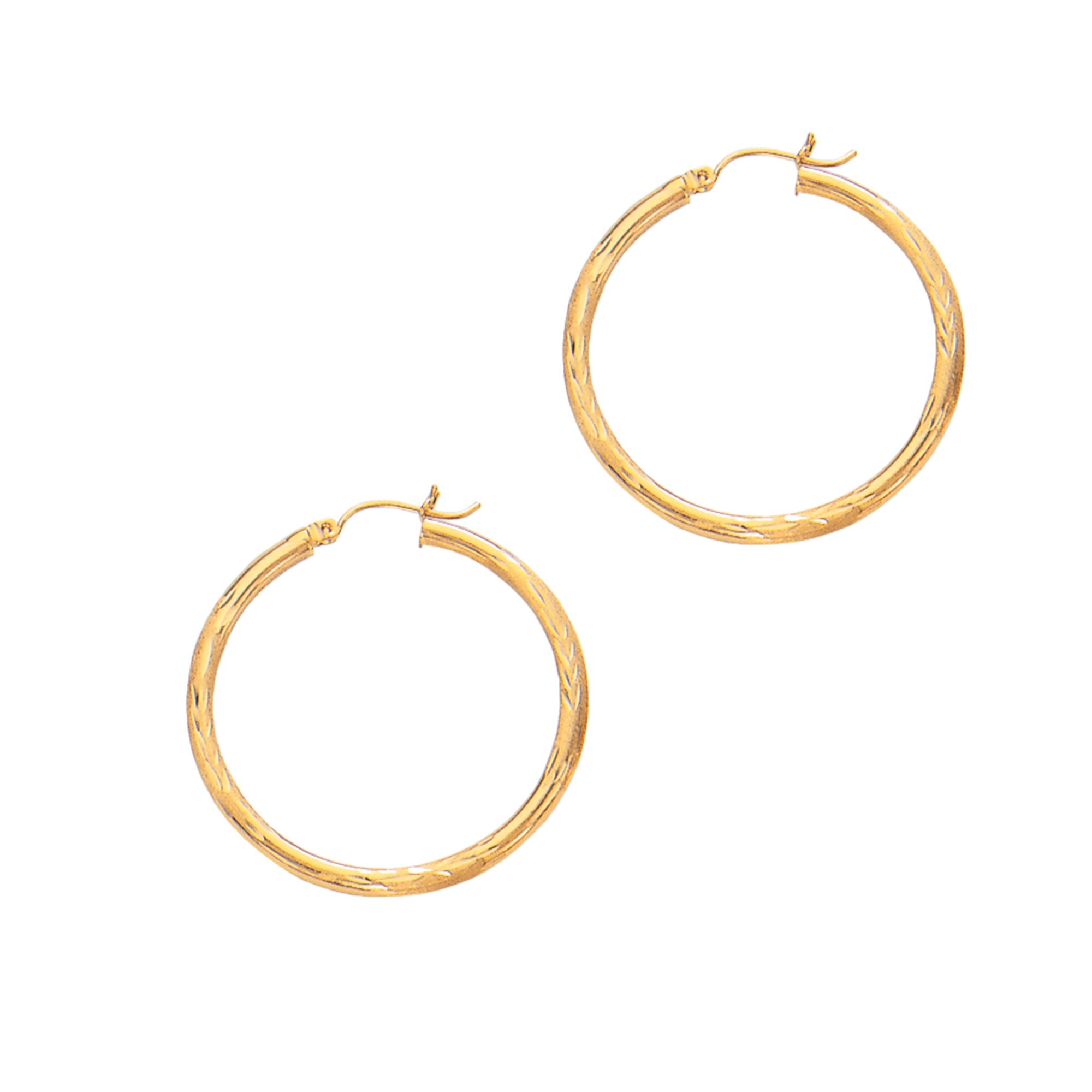 14 Karat Yellow Gold 2 mm Textured Hoop Earrings