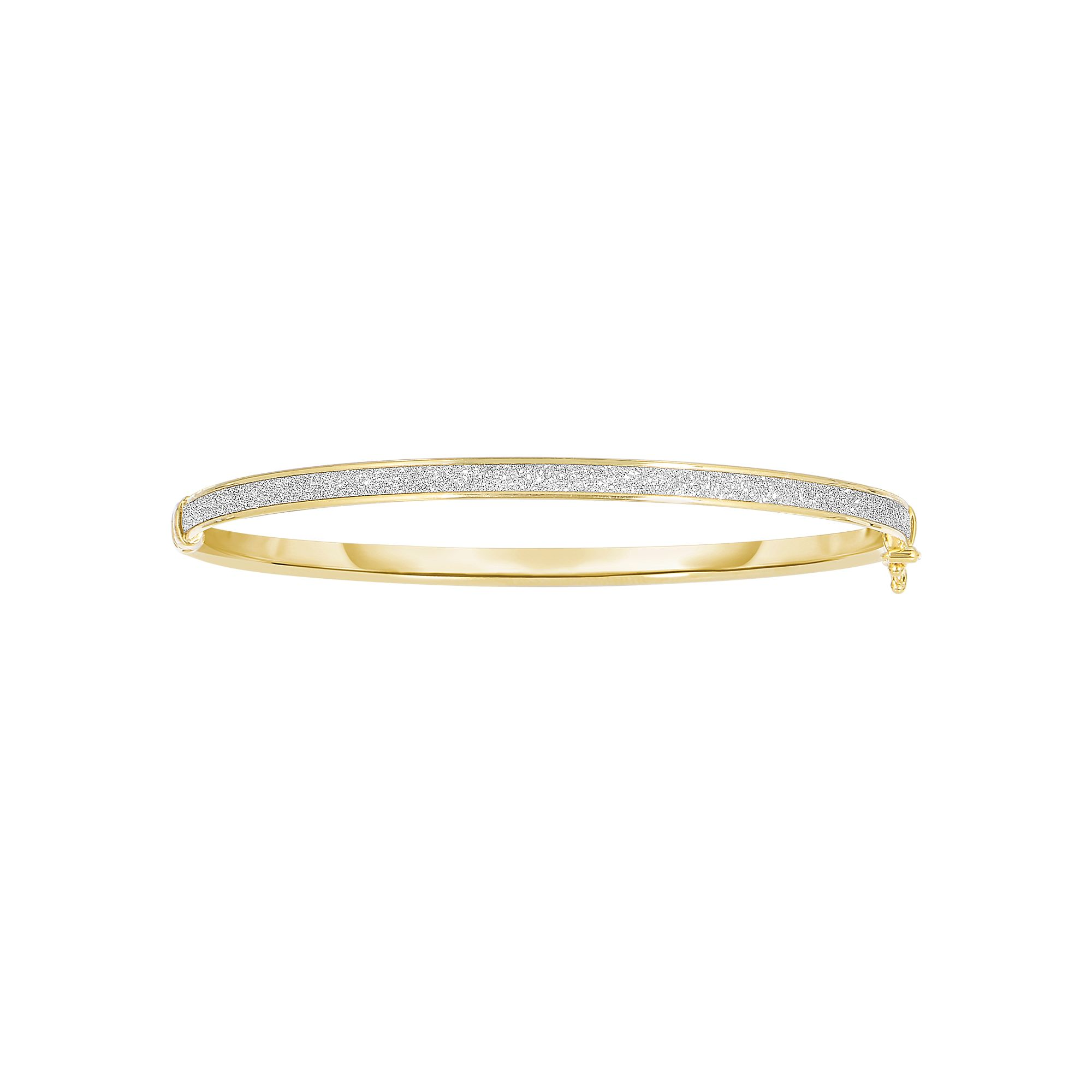 14 Karat Yellow Gold Thick Glitter Bangle Bracelet