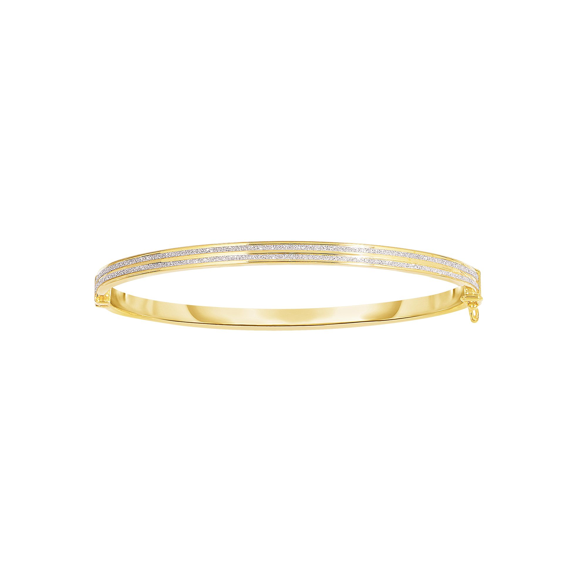 14 Karat Gold Double Row Glitter Bangle Bracelet
