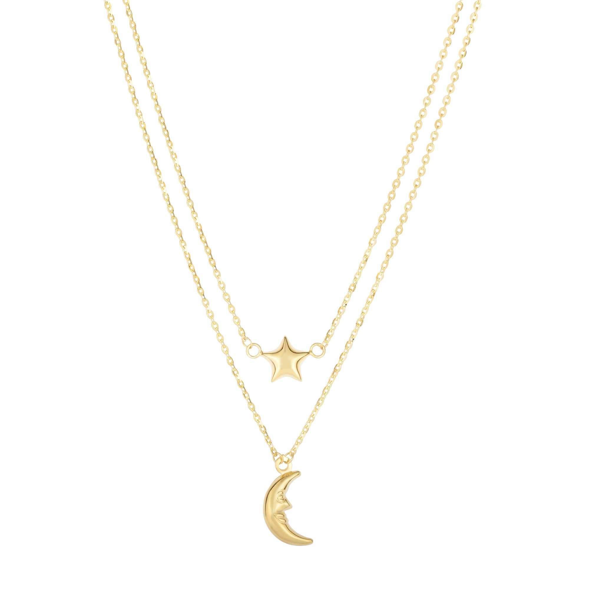 14 Karat Yellow Gold Layered Moon and Star Necklace