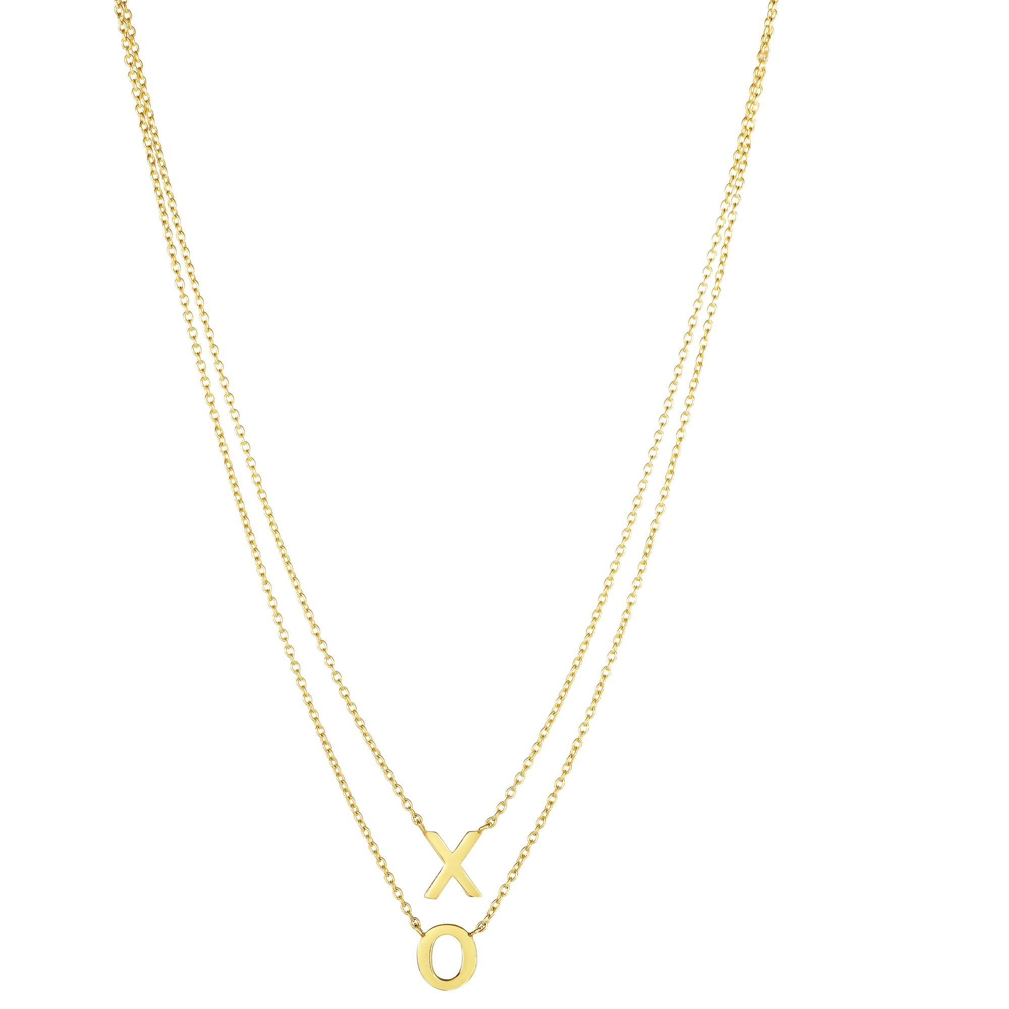 14 Karat Yellow Gold Layered XO Hugs and Kisses Necklace