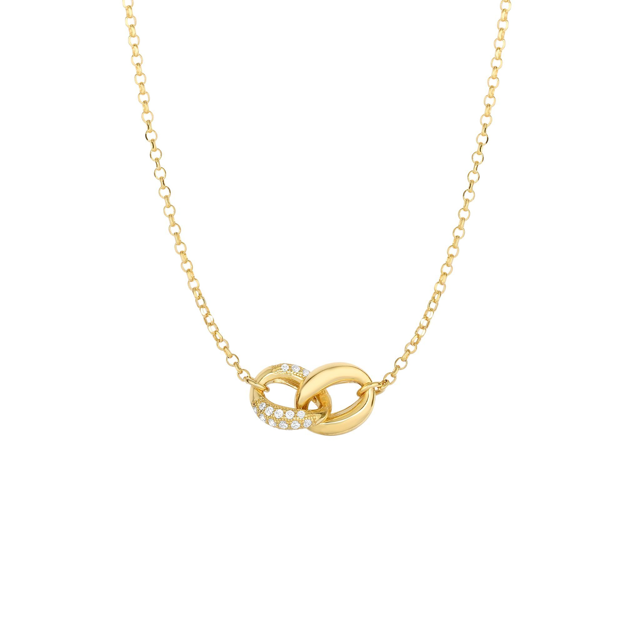 14 Karat Yellow Gold Diamond Interlocking Infinity Necklace