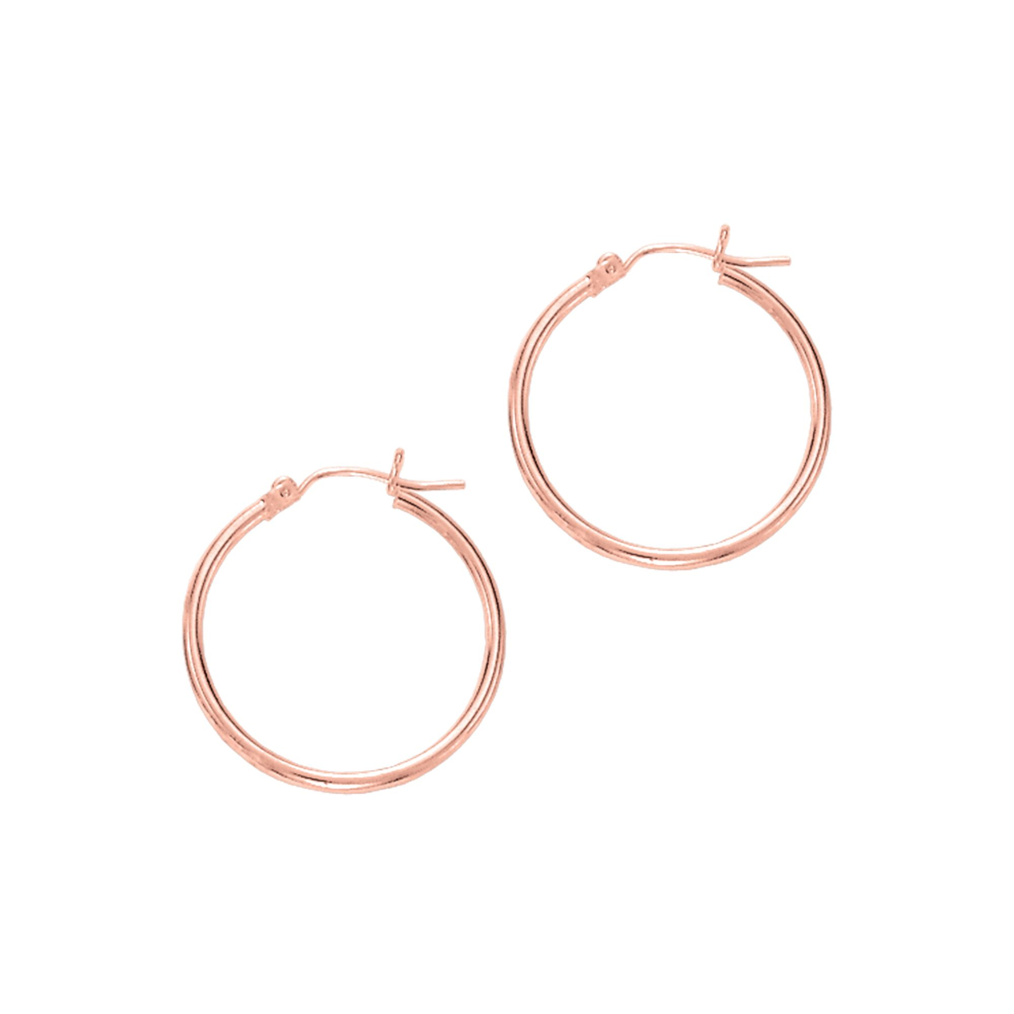 14 Karat Gold 2 mm Polished Hoop Earrings