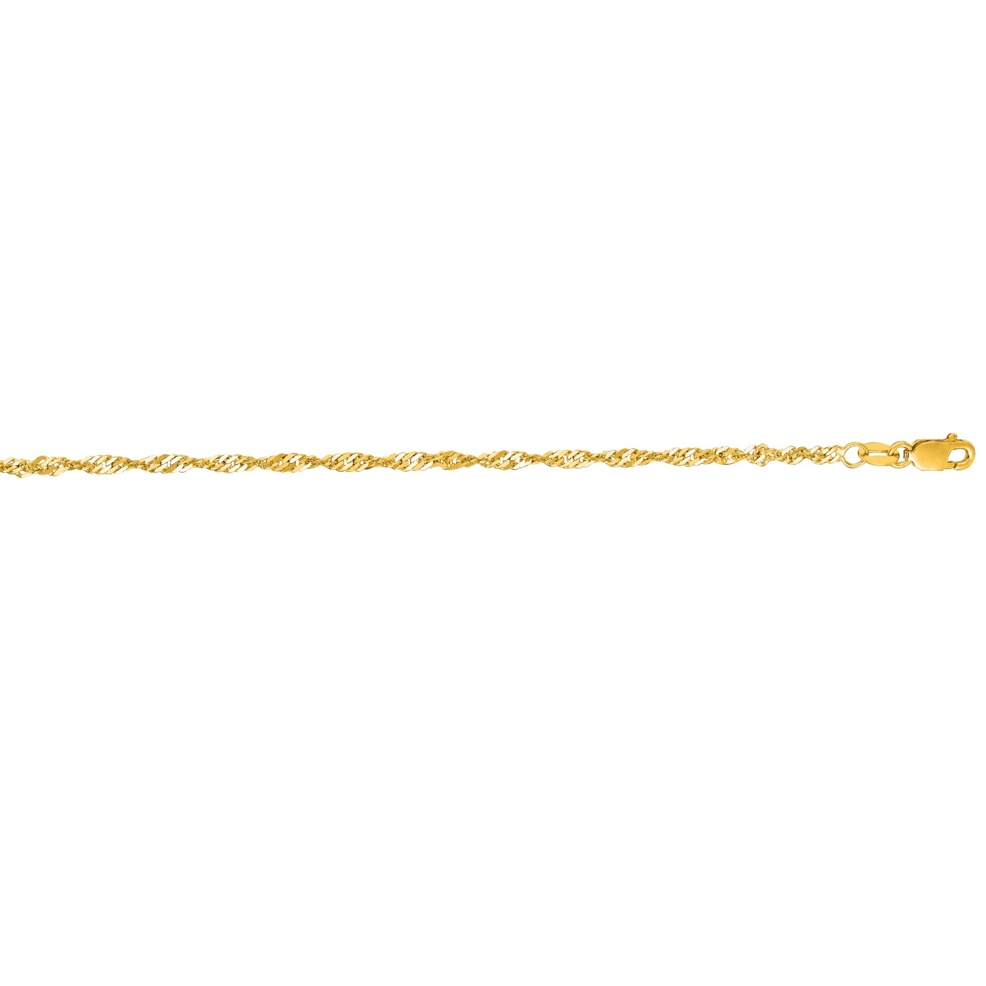 14 Karat Yellow Gold Thick Singapore Chain Ankle Bracelet