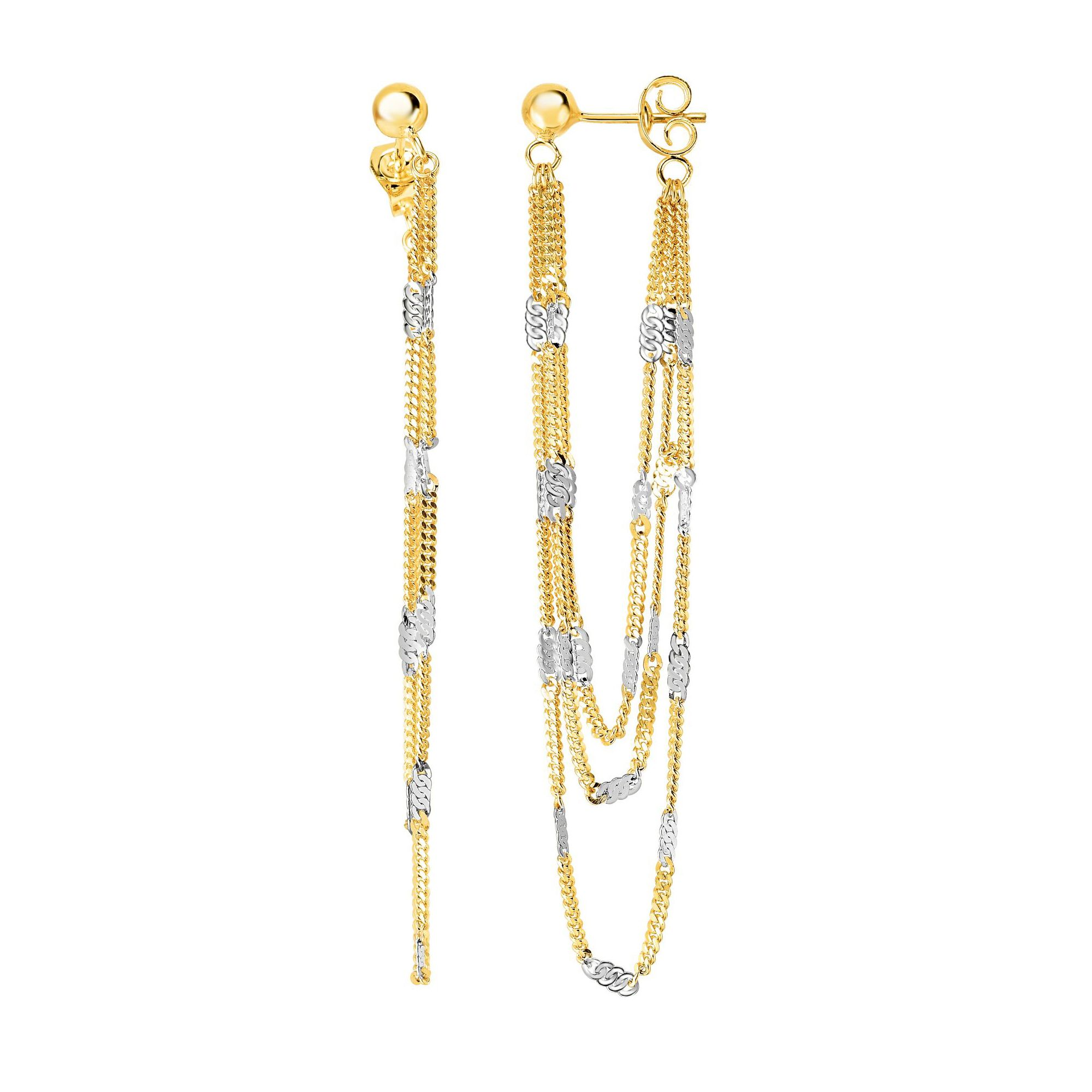 14 Karat Two Tone Gold Dangling Fancy Curb Link Chain Earrings