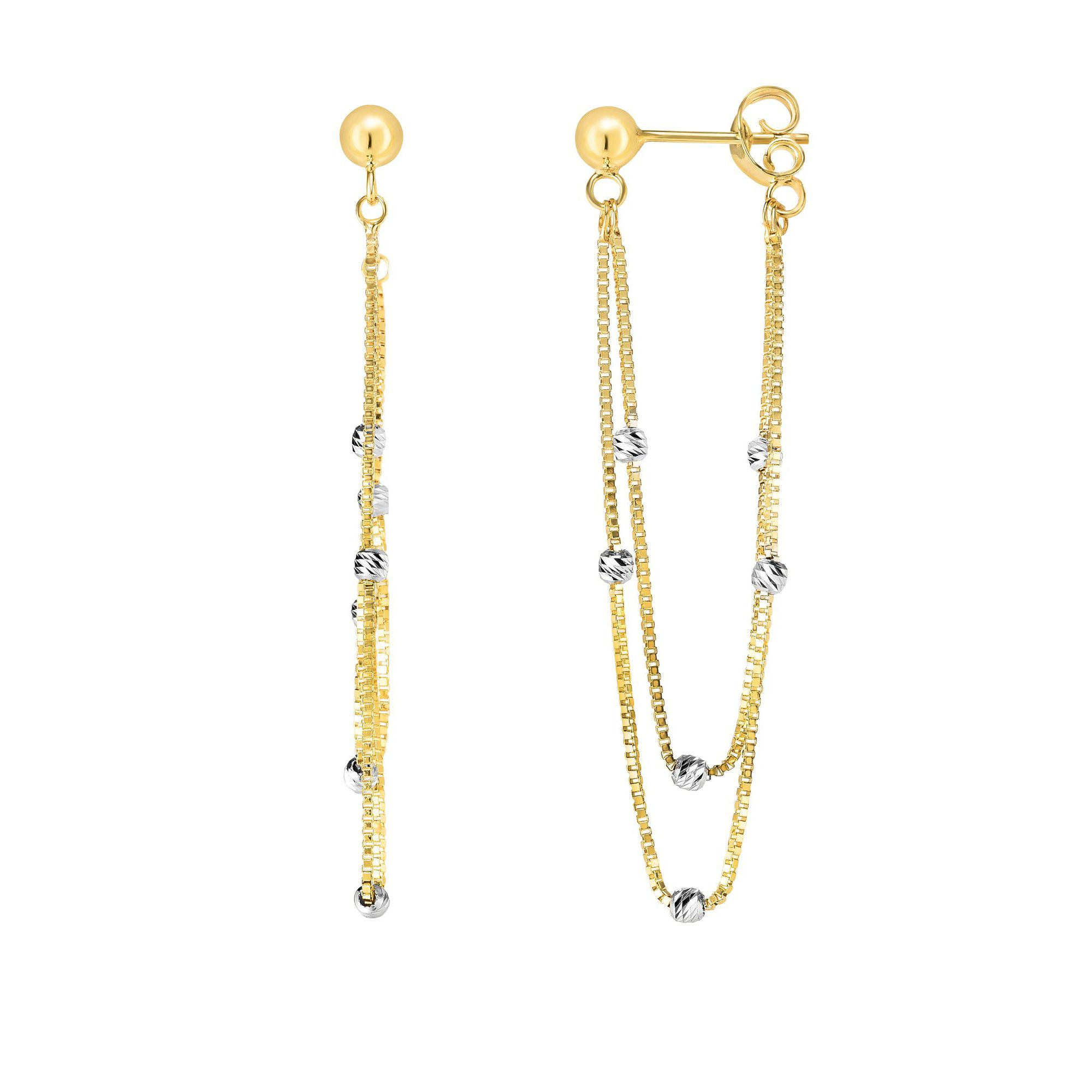 14 Karat Yellow and White Gold Two Tone Dangling Box Chain Earrings