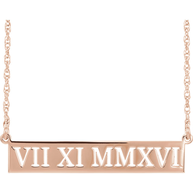 14 Karat Gold Pierced Roman Numeral Date Bar Necklace