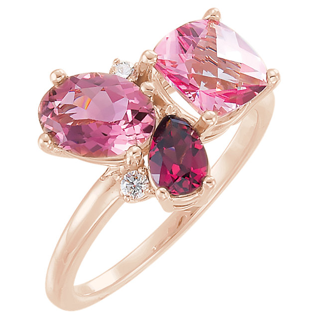 14 Karat Gold Multi Tone Pink Gemstone Cluster Ring