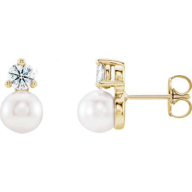 14 Karat Gold Solitaire Freshwater Cultured Pearl and Diamond Stud Earrings