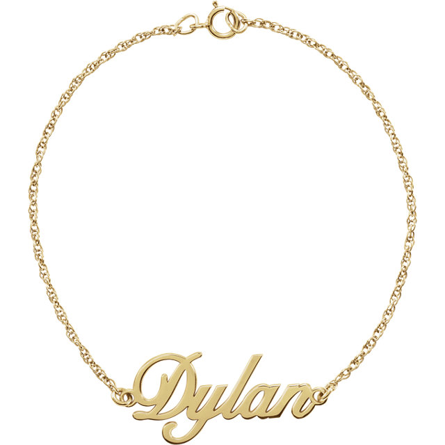 14 Karat Gold Cursive Personalized Name Bracelet
