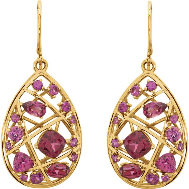 14 Karat Gold Ruby Red Dangling Teardrop Nest Earrings