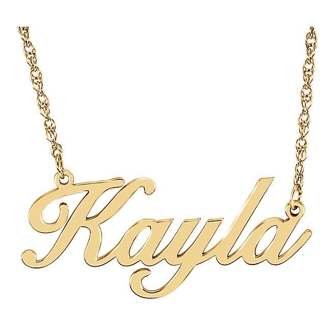 14 Karat Gold Cursive Personalized Name Necklace