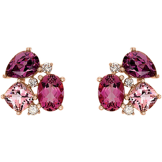 14 Karat Gold Multi Tone Pink Gemstone Cluster Earrings