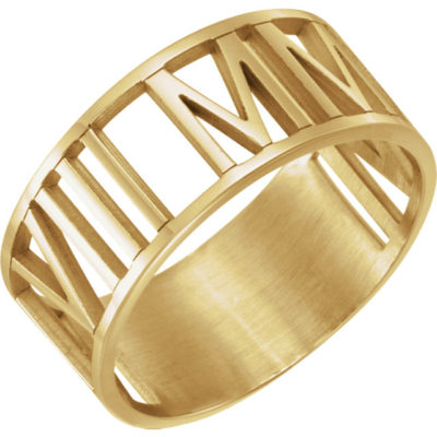 14 Karat Gold Pierced Roman Numeral Date Ring
