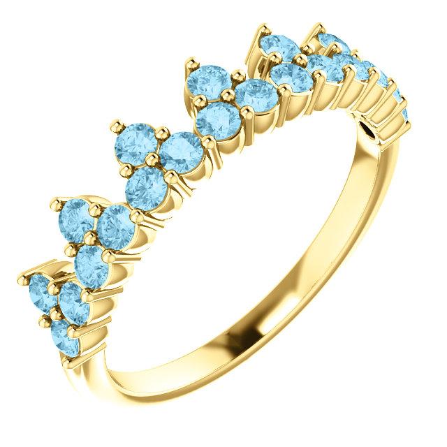 14 Karat Gold Accented Gemstone Crown Ring