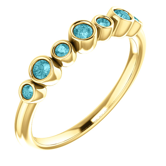 14 Karat Gold Stackable Gemstone Bezel Set Ring