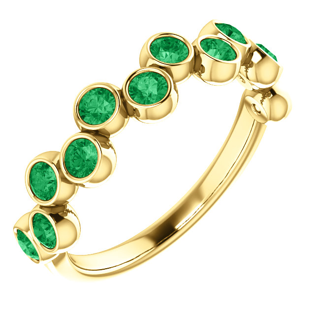 14 Karat Gold Stackable Gemstone Bezel Set Pop Ring