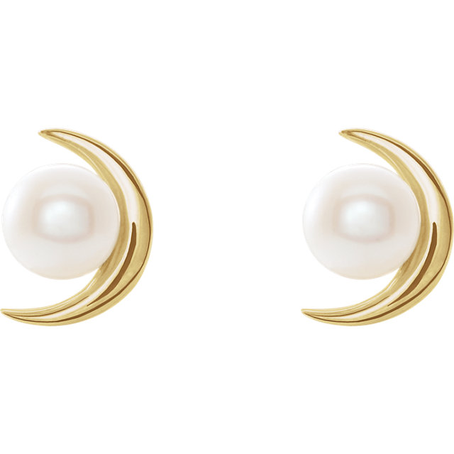 14 Karat Gold Half Moon Pearl Stud Earrings