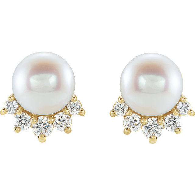 14 Karat Gold Freshwater Cultured Pearl and Diamond Accented Stud Earrings