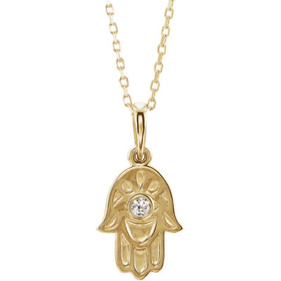 14 Karat Gold Detailed Solitaire Diamond Hamsa Hand Necklace