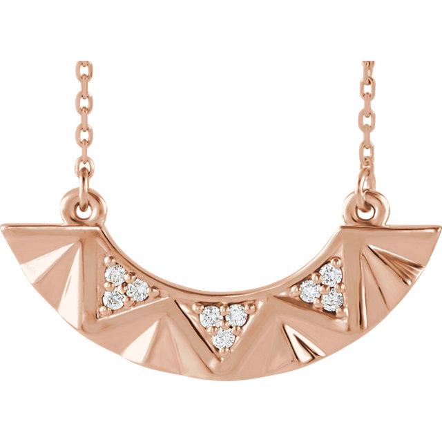 14 Karat Gold Diamond Curved Geometric Bar Necklace