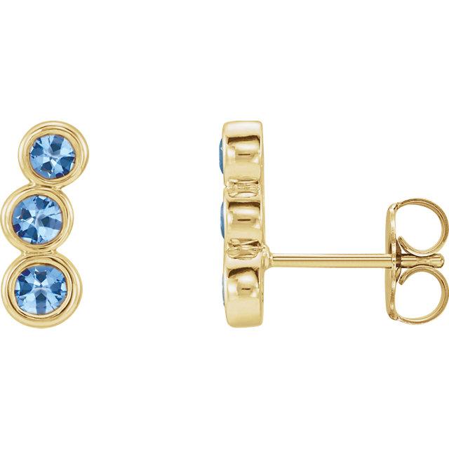 14 Karat Gold Petite Three Stone Ear Climber Earrings