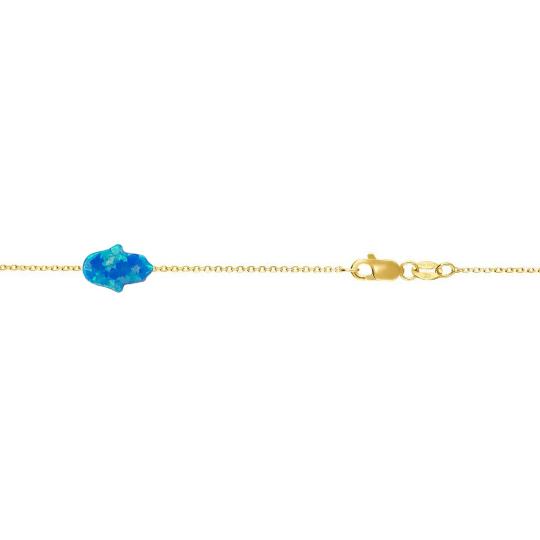 14 Karat Gold Mini Deep Blue Opal Hamsa Hand Bracelet