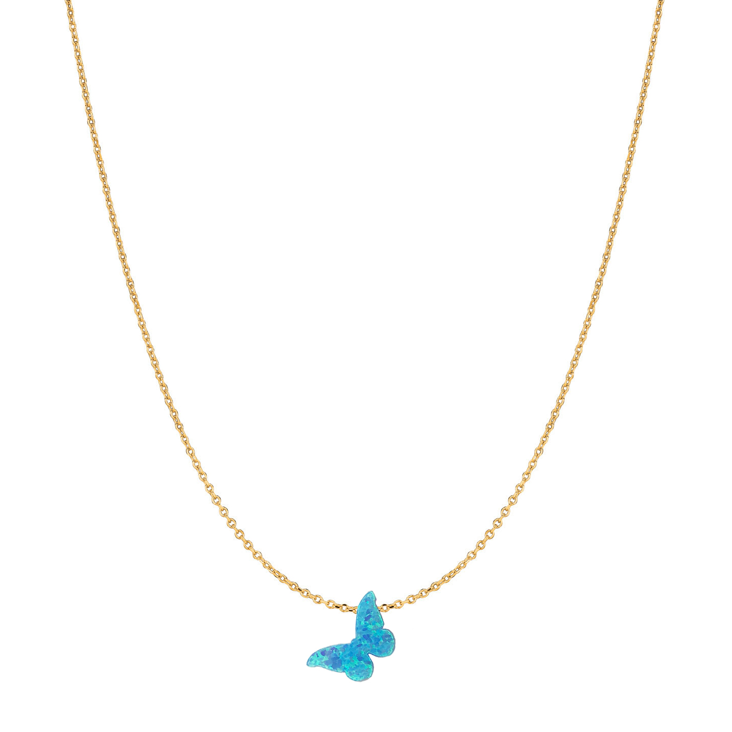 14 Karat Gold Bright Blue Slanted Butterfly Opal Necklace