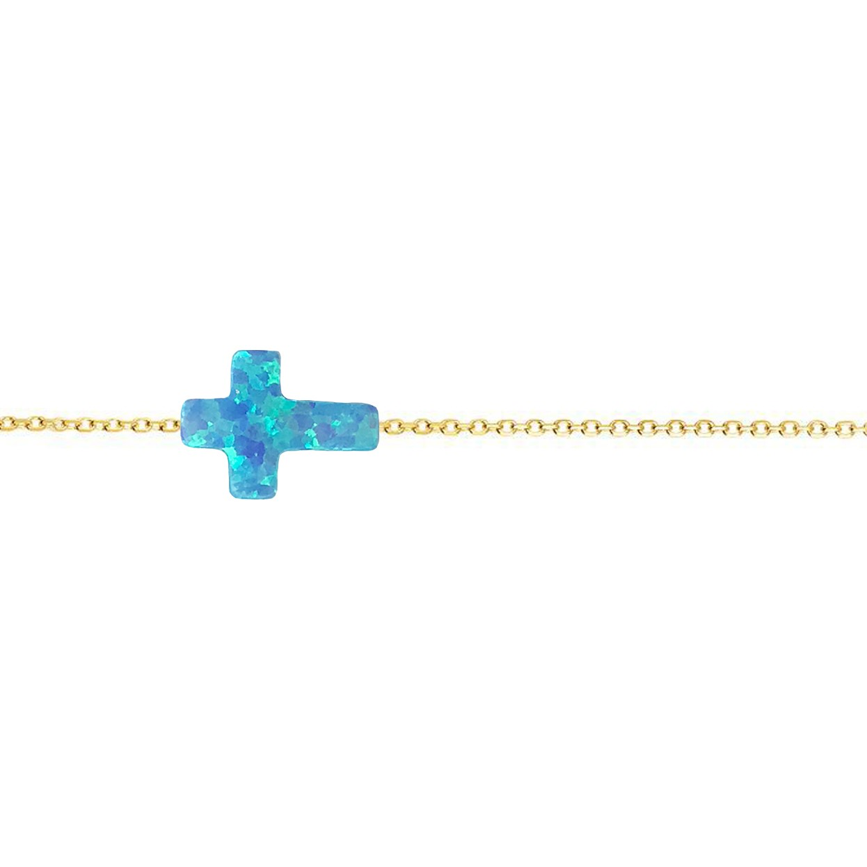 14 Karat Gold Bright Blue Opal Sideways Cross Necklace