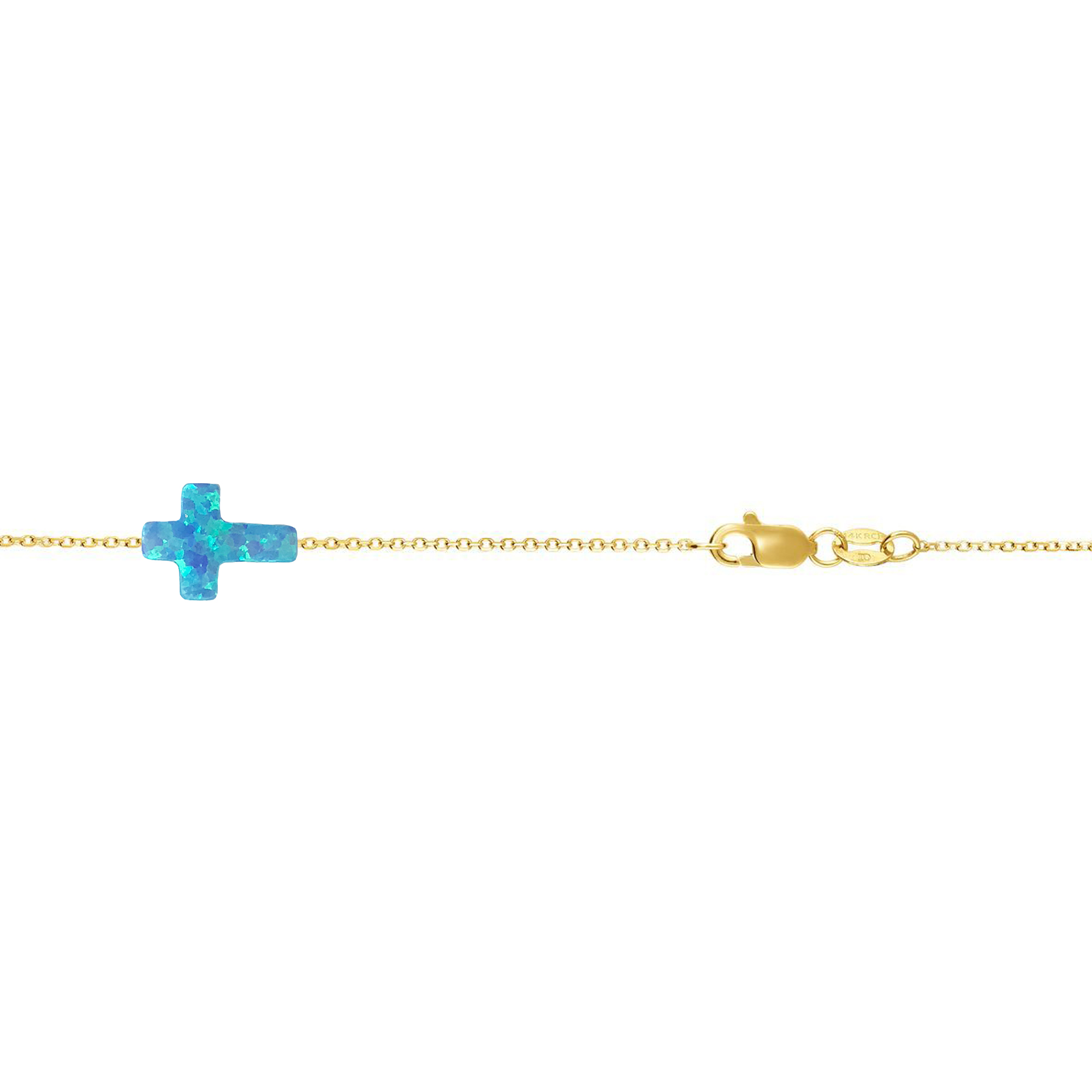 14 Karat Gold Bright Blue Opal Sideways Cross Bracelet