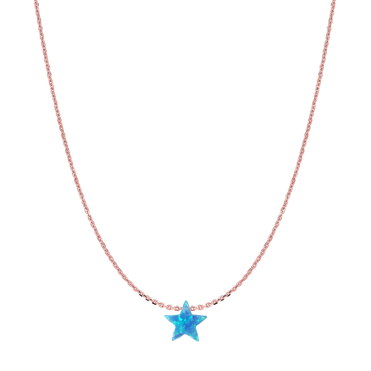 14 Karat Gold Bright Blue Opal Twinkling Star Necklace