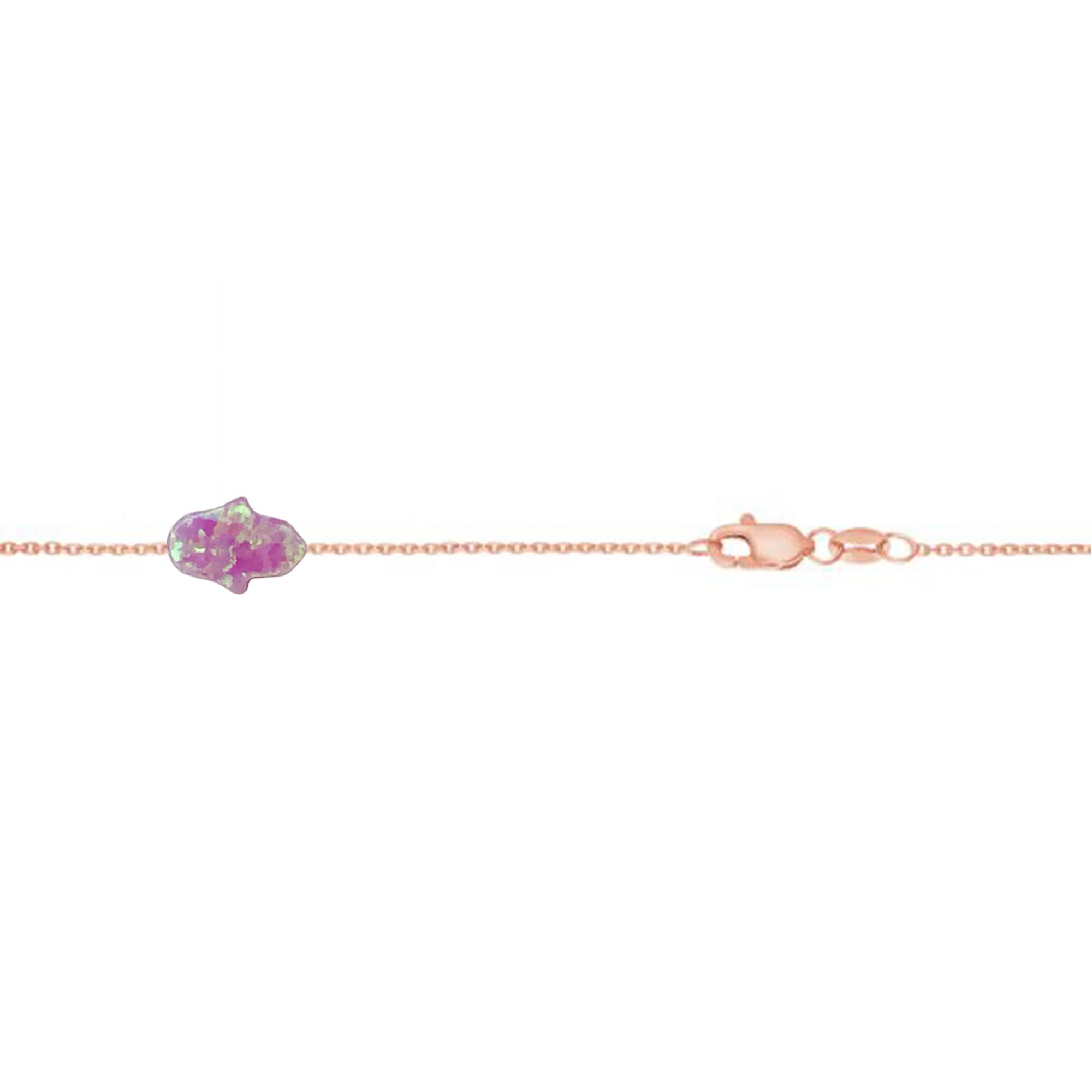 14 Karat Gold Mini Princess Pink Opal Hamsa Hand Bracelet