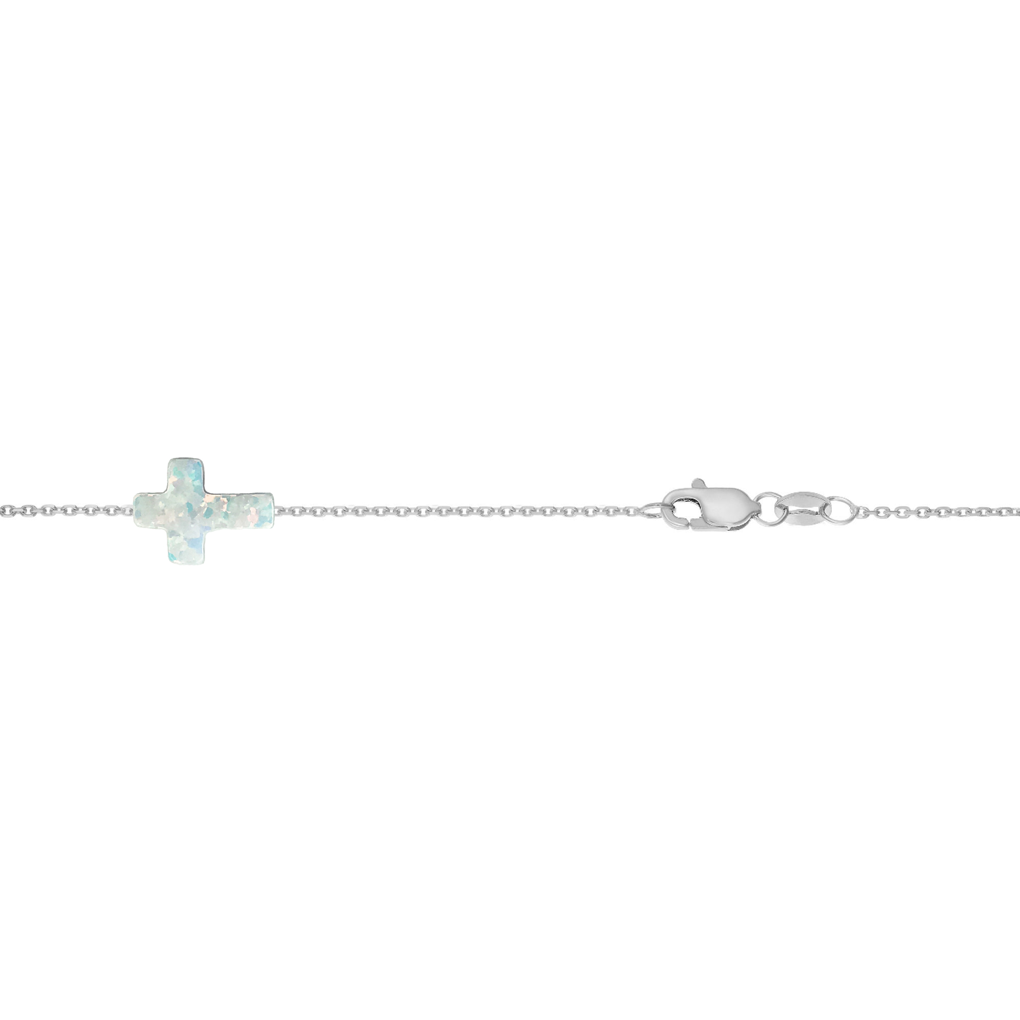 14 Karat Gold Pure White Opal Sideways Cross Bracelet