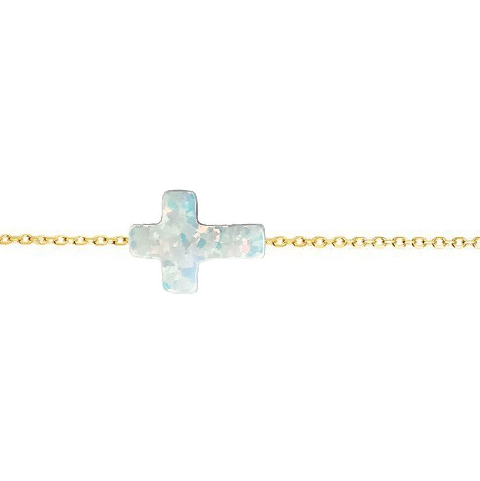 14 Karat Gold Pure White Opal Sideways Cross Necklace