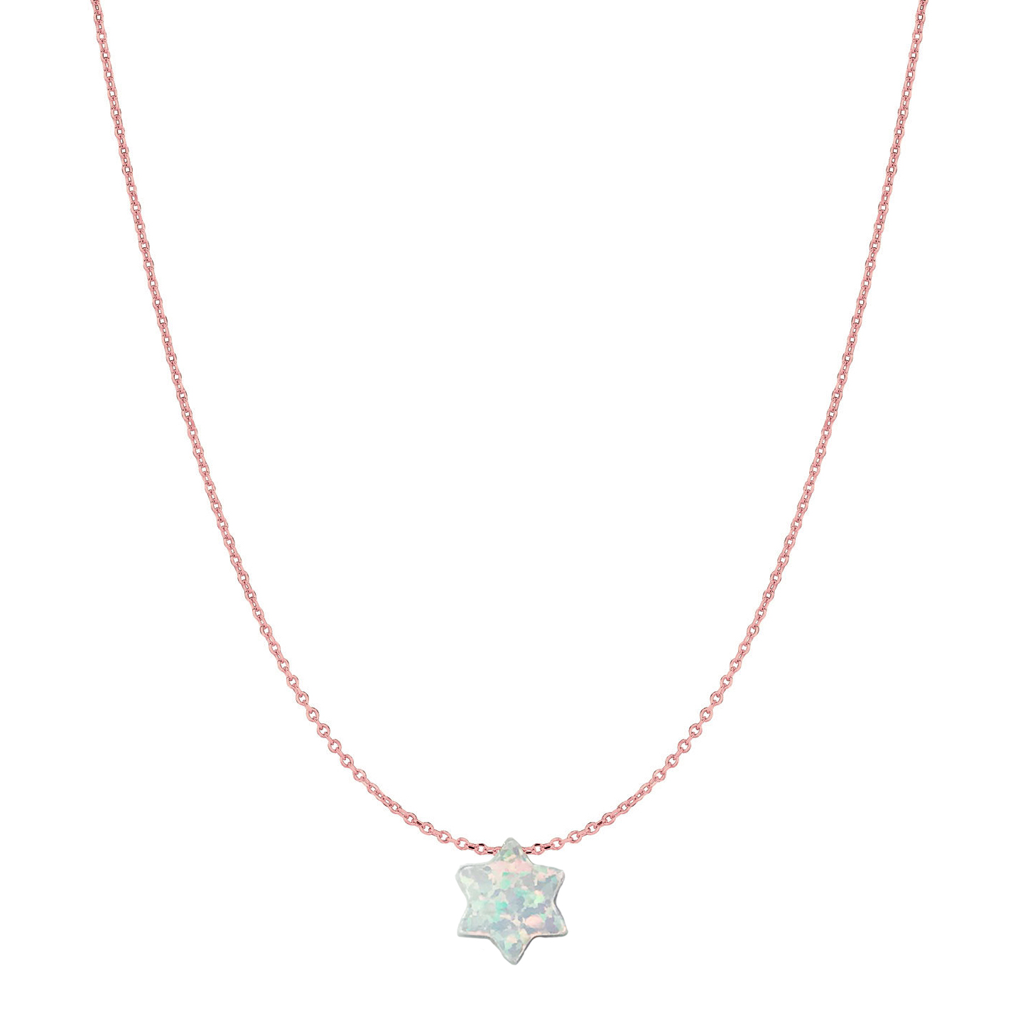 The 14 Karat Gold Pure White Opal Jewish Star of David Necklace