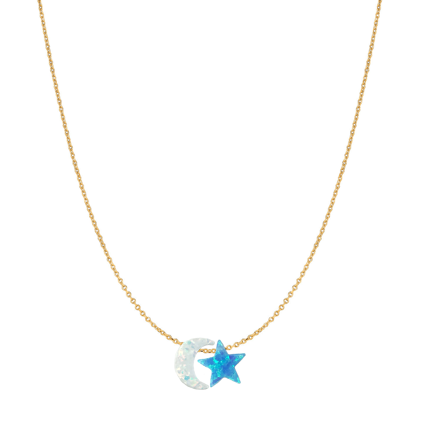 14 Karat Gold Bright Blue Star and Pure White Moon Opal Necklace