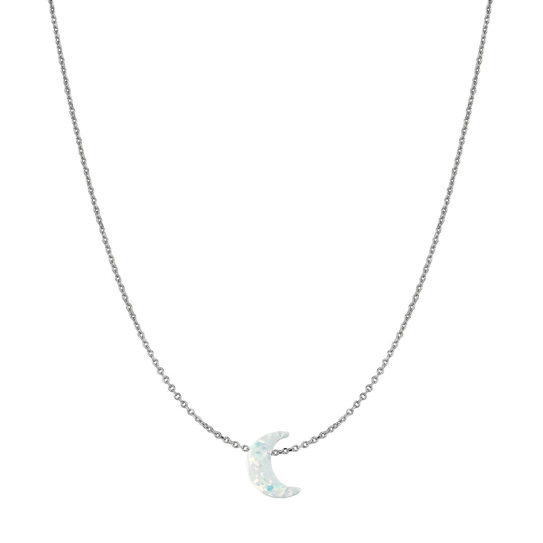 14 Karat Gold Pure White Opal Moon Necklace