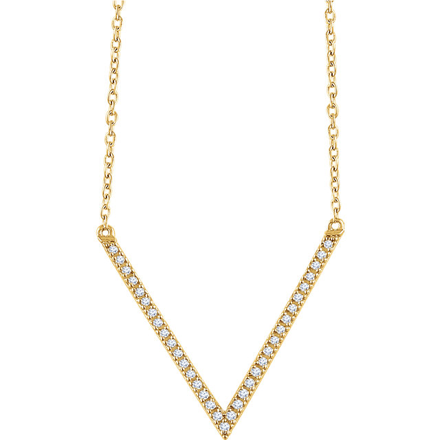 "14 Karat Gold 1/6 CTW Diamond ""V"" Style Adjustable Necklace"
