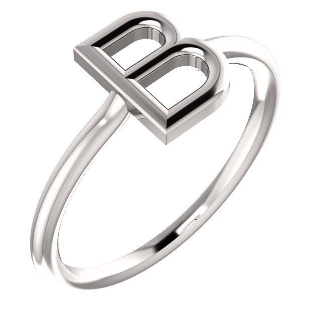 "14 Karat White Gold Stackable Initial Letter ""B"" Ring"