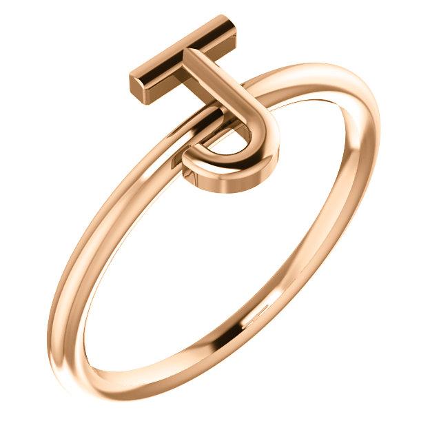 """14 Karat Rose Gold Stackable Initial Letter """"J"""" Ring"""