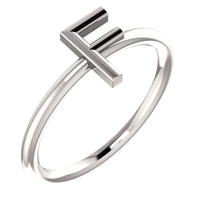 "14 Karat White Gold Stackable Initial Letter ""F"" Ring"